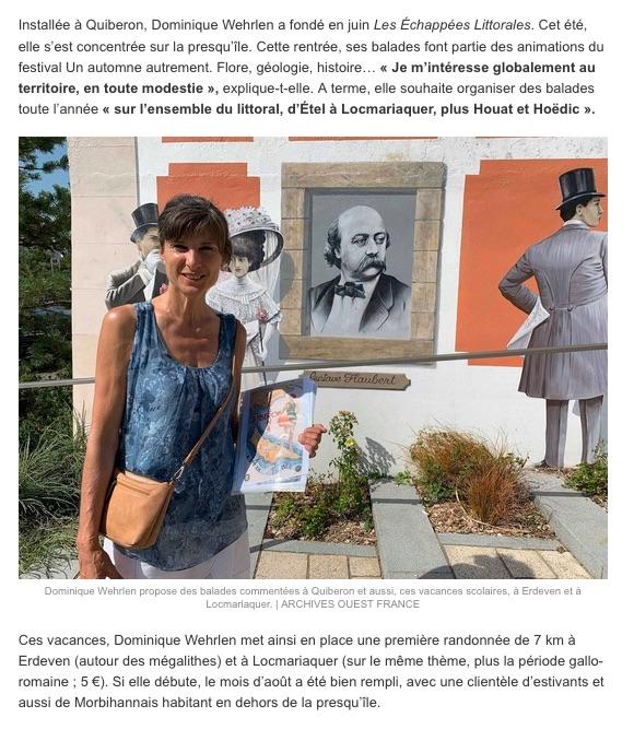 Les échappées littorales présentées par la presse. Depuis l'été 2019, Dominique propose des balades sur  la Presqu'île de Quiberon et dans les environs.