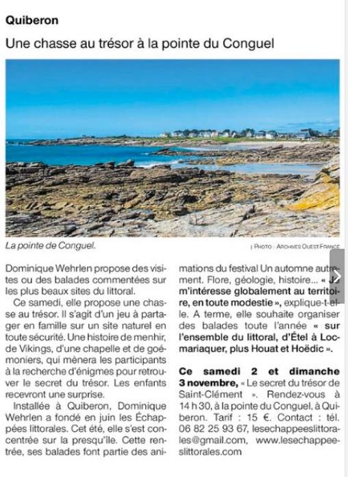 article presse au sujet des échappées littorales